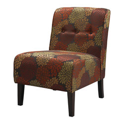 Linon - Linon Coco Harvest Accent Chair in Dark Walnut - Linon - Accent Chairs - 36096HAR01KDU - Classic design meets modern appeal in this superbly comfortable upholstered chair. Substantial, durable padding and a sturdy hardwood frame makes for long lasting utilization. The mix of fabric, button tufting and clean lines adds an air of sophistication and elegance to virtually any home decor. A functional and artistic addition to your living room, bedroom, or den. The rich dark walnut finish frame is complimented by the stunning floral harvest fabric.