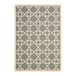 """Safavieh - Courtyard Gray/Brown Area Rug CY6032-246 - 4' x 5'7"""" - Safavieh takes classic beauty outside of the home with the launch of their Courtyard Collection. Made in Belgium with enhanced polypropylene for extra durability, these rugs are suitable for anywhere inside or outside of the house. To achieve more intricate and elaborate details in the designs, Safavieh used a specially-developed sisal weave."""