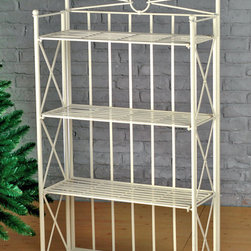 International Caravan - International Caravan Iron 4-tier Folding Bakers Rack - Folding bakers rack is great for indoor or outdoor useIron shelf features an antique white finish with EP rust protectionVersatile rack is perfect for indoor storage or as an accent piece