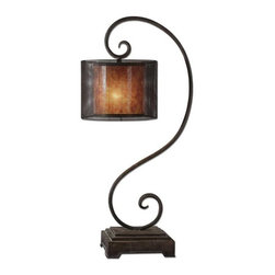 Matthew Williams - Matthew Williams Dalou Scroll Traditional Table Lamp X-1-27592 - This Matthew Williams scroll lamp features a large traditional scrolling frame that adds a soft, delicate look to any setting. From the Dalou Collection, the beveled base and frame come in a Dark Bronze finish that also features a heavy rottenstone wash for added visual interest. The drum shade is a combination of a stained mica inner liner and an outer pierced metal shade.