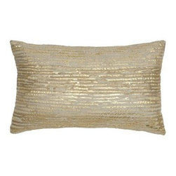 Modern Living Oxidized Leaf 12L x 20W in. Decorative Pillow - Add some pop to any bedding set with the Modern Living Oxidized Leaf 12L x 20W in. Decorative Pillow. This pillow features a 100% poly outer with a soft poly fill. Its dazzling gold foil stitching and gold background give it depth and visual appeal. Spot clean only.