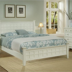 Home Styles - Arts and Crafts Queen Poster Bed - White - HMS1433 - Shop for Beds from Hayneedle.com! Mission design is traditional and timeless which means this Arts and Crafts Poster Bed - White will always be in style. Defined by its raised wood lattice moldings and strong lines this bed is distinctive. It's well-crafted of Asian hardwood solids and hardwood veneers in a fresh white finish. For a complete Arts and Crafts make-over in your bedroom add on the optional matching headboard nightstand and chest. The headboard features the same raised wood lattice moldings and squared posts that will make it the showpiece of your bedroom design. The nightstand is a convenient bedside companion with a drawer open storage and generous top. The chest has four spacious drawers for clothing storage and more. Furniture Dimensions:Optional Queen Headboard: 64.25W x 4D x 48.5H in.Optional Nightstand: 18W x 16D x 24H in.Optional Chest: 36W x 16D x 36H in.About Home StylesHome Styles is a manufacturer and distributor of RTA (ready to assemble) furniture perfectly suited to today's lifestyles. Blending attractive design with modern functionality their furniture collections span many styles from timeless traditional to cutting-edge contemporary. The great difference between Home Styles and many other RTA furniture manufacturers is that Home Styles pieces feature hardwood construction and quality hardware that stand up to years of use. When shopping for convenient durable items for the home look to Home Styles. You'll appreciate the value.