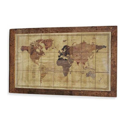 Interlude Home - Interlude Home Magnus Exploration World Map - This Interlude Home Exploration World Map is crafted from Wood and Canvas and Glass and finished in Antique Multi.  Overall size is:  79 in. W  x  2 in. D x 50 in. H.
