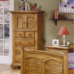 "American Woodcrafters - Cottage Traditions 4 Drawer Lingerie Chest - Comfortable attic styling takes on a touch of coastal elements with signature louvers on key pieces. A classic example of combined function and visual appeal in an eggshell white with light flyspecking. Matching wooden knob hardware is a testament to the handcrafted look of the collection. Features: -Four drawers.-Two doors with signature louvers and one adjustable shelf.-Dust panels on bottom drawer.-Wooden knob hardware.-Dividing waist rail.-Decorative shaped block base supported by bun feet.-Cottage Traditions collection.-Frame Material (Finish: Distressed Sandstone): Solid pine, pine veneers and medium density fiber board.-Solid Wood Construction: No.-Powder Coated Finish: No.-Gloss Finish: No.-Number of Items Included: 1.-Hardware Material: Metal.-Non Toxic: Yes.-Scratch Resistant: No.-Storage Function: Clothing.-Drawers Included: Yes -Number of Drawers: 4.-Drawer Interior Finish: Sanded and sealed.-Drawer Glide Material: Metal.-Drawer Glide Extension: 11.5"".-Soft Close or Self Close Drawer Glides: No.-Safety Stop: Yes.-Ball Bearing Glides: No.-Joinery Type: Mortise and tenon.-Drawer Dividers: No.-Felt Lined Drawers: No.-Drawer Handle Design: Knobs..-Exterior Shelves: No.-Clothing Hooks Included: No.-Foot Design: Bun feet.-Cabinets Included: Yes -Number of Cabinets: 1.-Number of Interior Shelves: 1.-Adjustable Interior Shelves: Yes.-Number of Doors: 2..-Hidden Storage: No.-Interchangeable Panels: No.-Mirror Included: No.-Hutch Included: No.-Finished Back: No.-Distressed: Yes.-Collection: Cottage Traditions.-Swatch Available: No.-Commercial Use: No.-Recycled Content: No.-Product Care: Wipe Clean with damp cloth.Specifications: -CPSIA or CPSC Compliant: Yes.Dimensions: -Three adjustable shelf heights: 4.5"", 7.5"", and 9.5"".-Overall Height - Top to Bottom: 57.63"".-Overall Width - Side to Side: 31"".-Overall Depth - Front to Back: 18"".-Drawer: -Drawer Interior Height - Top to Bottom: 4.75"".-Drawer Interior Width - Side to Side: 19.5"".-Drawer Interior Depth - Front to Back: 14.5""..-Shelving: -Shelf Width - Side to Side: 25.5"".-Shelf Depth - Front to Back: 15.5""..-Cabinet: -Cabinet Interior Height - Top to Bottom: 17.5"".-Cabinet Interior Width - Side to Side: 25.5"".-Cabinet Interior Depth - Front to Back: 16.5""..-Overall Product Weight: 128 lbs.Assembly: -Assembly Required: No.-Tools Needed: Tools provided.-Additional Parts Required: No.Warranty: -Manufacturer provides one year warranty from ship date.-Product Warranty: 1 year warranty."