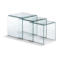 Modern glass nesting table Explorer - Modern nesting table Explorer features simple shape and chic aesthetic. It is made of bent semi-tempered transparent glass. The feet are covered with rubber corners to protect your floor.