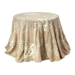 None - Embroidered 96-inch Round Cotton Table Cloth - Add elegance and sophistication to your home or office with this beautiful embroidered table cloth. Lightweight with an intricate design,this round table cloth is the perfect upgrade for your decor.