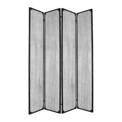 INDUSTRIAL SCREEN - This is a 4 panel industrial style screen. The rustic, distressed finish features metal accents for a unique look that's sure to bump your style up a notch.