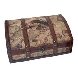 """Quickway Imports - Old World Map Treasure Chest - Size: 14"""" x 10"""" x 5"""""""