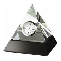 HOWARD MILLER - Howard Miller Summit Crystal Pyramid Table Clock - An intriguing optical crystal pyramid clock sits on a solid black glass base.