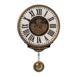 Uttermost - Vincenzo Bartolini Wall Clock, Cream - Weathered, Laminated Clock Face With A Cast Brass Outer Rim, Brass Center Components And Pendulum. Requires 1-aa Battery.