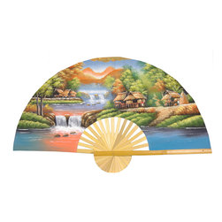 "Oriental Furniture - Tranquility Fan - 40"" - This handcrafted Thai wall fan is built with split bamboo slats and sateen fabric and decorated with a Tranquility motif. The design is a handpainted Southeast Asian riverside village scene, with the moon rising over a palette of lavender, blue, green, and ochre. This authentic, highly-detailed Asian style wall art makes an outstanding housewarming, birthday, or holiday gift idea."