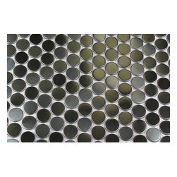 "Metal Silver Stainless Steel Penny Round Tiles - sample-METAL SILVER STAINLESS STEEL 3/5 PENNY ROUND TILES SAMPLE You are purchasing a 1/4 sheet sample measuring approximately 6"" x 6"". Samples are intended for color comparison purposes, not installation purposes.-Glass Tiles -"