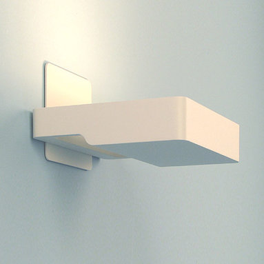 Artemide - Square Wall Sconce - Square wall sconce features a die-cast aluminum body in matte white finish. Available in matte white and light grey finish as well as a halogen or compact fluorescent lamping option. Features a high efficiency reflector in anodized aluminum with lamp glass protector. Wall mount bracket mounts to standard electrical junction boxes. One 300 watt, 120 volt, T3 R7s base halogen lamp included or (1) 18 watt, 120 volt, T4 G24Q-2 base compact fluorescent lamp not included. General light distribution. UL listed. 7.75W x 1.25H x 6.75L.