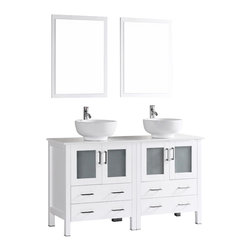 """Bosconi - 60"""" Bosconi AB230RO Double Vanity, White - Indulge the aesthetic principal with this stunning and spacious 60"""" glossy white Bosconi double vanity set. The ceramic, round vessel sinks and perfectly coordinating mirrors lend to a polished and efficient design. Features include two spacious cabinets with soft closing doors, as well as, two large pull out drawers. Plenty of space to accommodate towels, toiletries and bathroom accessories."""