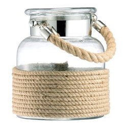 Small Glass and Cord Apothecary Lantern - Very unique apothecary jar lantern. Fantastic with a candle inside and even better with a bug repellent candle, such as citronella, it will keep the pests away and provide a delightful glow on your outdoor table. Can be hung from its rope handle.