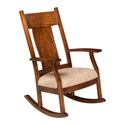 Chelsea Home Furniture - Chelsea Home Hershberger Rocker - Pecan Leather - Chelsea Home Furniture proudly offers handcrafted American made heirloom quality furniture, custom made for you.