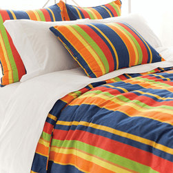 Pine Cone Hill - Pine Cone Hill Mel Stripe Blue Duvet Cover - Bold and bright. The Mel duvet cover is all about color, banded by vertical stripes of yellow, green, blue, and beyond. Preppy and peppy, it's crafted from machine-washable cotton and finished with piped edges and a hidden button closure that keep all attention focused on the pattern. Available in multiple sizes: Twin, Full/Queen, and KingCottonHidden button closureMachine wash; tumble dryShips in 1-2 weeks