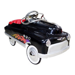 Airflow Collectibles - Airflow Collectibles Black Hot Rod Comet Car Pedal Riding Toy - AFC113 - Shop for Tricycles and Riding Toys from Hayneedle.com! They may not know how to use pomade and you probably won't give them their own switchblade comb but they'll have no trouble understanding the hot-rod style of the Airflow Collectibles Black Hot Rod Comet Car Pedal Riding Toy. Crafted with a robust metal body that's obviously inspired by classic street rods they'll love cruising the neighborhood in style. The metal body has a lead-free powder-coat finish with plenty of chrome providing the accents on the hubcaps lights windshield insignia and side vents. High-traction tires will grab the road while the non-slip pedals will stay right under their feet while they're cruising. A padded seat adds comfort and the pedal assembly has five different positions allowing you to get the safest and most comfortable fit for your little street rodder.About Airflow CollectiblesAirflow Collectibles is an Orange Calif.-based company that specializes in the reproduction of vintage children's toys. The streamlined steel tricycles pedal cars and pedal plane replicas have an identical look and feel to the quality toys that were popular in America in the 1930s 40s and 50s. Airflow tricycles aren't merely retro-inspired; they are genuine recreations of beloved heirlooms. Each vehicle is painted with lead-free paint and has been safety tested and approved in the U.S.A.