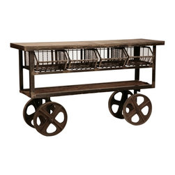 MPI - Hopper Industrial Trolley - This unique industrial trolley made from distressed antiqued steel with reclaimed wood shelf, cast iron wheels and four removable wire baskets is the perfect addition to any urban space. Can be used as a moveable kitchen island or media stand. This great piece is definitely a conversation starter.