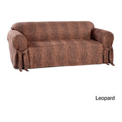 Classic Slipcovers - Animal Print Microsuede Sofa Slipcover - This stylish, one-piece sofa slipcover features a trendy animal print on soft micro-suede. Stand alone or blend with any room decor, this easy, one-piece cover features an adjustable skirt with front and back ties to keep the cover in place.