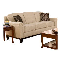 Coaster - Coaster Carver Sofa with Exposed Wood Base in Beige Chenille - Coaster - Sofas - 502471 - This casually-styled sofa features a neutral beige chenille upholstery that can be mixed and matched with your existing furnishings. Flair tapered arms are topped with padding for added comfort, and plush cushions provide a comfortable seat for relaxing or gathering with friends. Coordinating throw pillows, an exposed wood base and flared feet complete the sofa with a generous dose of modern style.