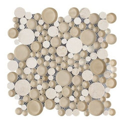 Bubbles Crema Marfil Polished & Froasted Circles Pattern Mesh-Mounted Marble & G - Circles Pattern Bubbles Crema Marfil Polished & Froasted Mesh-Mounted Marble & Glass Mosaic Tiles is a great way to enhance your decor with a traditional aesthetic touch. This Mosaic Tile is constructed from durable, impervious Marble & Glass material, comes in a smooth, unglazed finish and is suitable for installation on floors, walls and countertops in commercial and residential spaces such as bathrooms and kitchens.