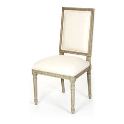 Louis Side Chair - Faux Olive Green with Off White Cotton - With clean, squared lines that exhibit a geometric taste seldom found in French-inspired traditional furniture, the Louis Side Chair is nevertheless an unmistakable luxury for living, dining, or bedrooms, as the classic ornamentation of the chair's faux olive green frame is richly detailed and elegantly composed.  Off white cotton upholstery fills the rectangular back and comfortable molded seat.