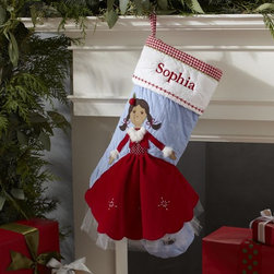 Doll Quilted Stocking - I love the way the skirt falls off the stocking. This is perfect for any little girl.