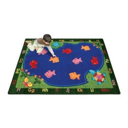 "Joy Carpets Fishin' Fun Kids Area Rug - Kids will love this cheerful Fishin' Fun Carpet. They can count the colorful fish practice their alphabet skills or just read or play by the """"pond."""" This carpet is great for kids' bedrooms playrooms classrooms or even toy stores.Sizes available3 feet 10 inches x 5 feet 4 inches (rectangular)5 feet 4 inches x 7 feet 8 inches (oval)5 feet 4 inches x 7 feet 8 inches (rectangular)7 feet 8 inches x 10 feet 9 inches (oval)7 feet 8 inches x 10 feet 9 inches (rectangular)10 feet 9 inches x 13 feet 2 inches (oval)10 feet 9 inches x 13 feet 2 inches (rectangular)This carpet features SoftFlex backing which is an air-texturized polypropylene secondary backing that's designed to withstand the most demanding situations. SoftFlex is woven tightly yet is still extremely flexible which helps eliminate wrinkles and provide superior protection and insulation underfoot.JoyTuff carpets are Stainmaster-protected and ideal for home or office use. They are constructed from Stainmaster BCF Type 6 6 two-ply nylon and feature advanced protection against stain and soil as well as Impervion mold and mildew protection. This carpet is bound and serged for maximum durability and features a SoftFlex back plus a Class I Flammability rating. To maintain simply vacuum regularly and use hot water extraction cleaning as required.This carpet includes the following warranties:Lifetime limited wear warrantyLifetime limited antimicrobial protectionLifetime limited static protection10-year limited dual technology soil and stain protectionDedicated to Environmental StewardshipJoy Carpets understands the importance of environmental stewardship and its relationship to a successful business. We are committed to operating our facilities in an environmentally sustainable manner and in a manner that protects the health and safety of our associates and the public.Our environmental commitment is driven by a holistic approach to sustainable operations not simply focusing on recycling alone. Joy Carpets reaches beyond recycling in an effort to reduce our company's environmental footprint. Our vision and progress to achieving the goal of full sustainability focuses on the following:Environmentally friendly productsReview of our products' supply chainExtending product life cycleUse of recycled packagingReducing waste to landfillReducing energy consumption and water usageUse of alternative energy sources'No carpet to landfill' commitmentRecycling carpet into new productsDonating carpet for charitable re-useAdditionally Joy Carpets is committed to establishing a strong foundation of environmental values with our families associates and communities to ensure the long-term conservation of our earth's natural resources.About Joy CarpetsJoy Carpets is the leader in specialty broadloom modular carpet Carpets and mats in creative and eye-catching designs. Joy takes pride in providing first-rate floor coverings for residential educational hospitality healthcare and commercial markets. The pioneer of fine gauge tufting Joy Carpets introduced the first recreational carpeting to the industry in 1973 and since that time has been known for their commitment to cutting edge technology and design. Joy Carpets are proudly made in the United States and sold worldwide. Choose Joy Carpets for superior service and unique fun products that enhance your decor and give you fantastic flooring in an instant."