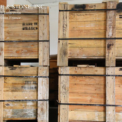 "Vieux Monde French Limestone - Vendome French Limestone pallets arriving to our warehouse from France for a client in NYC. Collection: Vendôme; Color: Soft wheat, cream and gold; Finish: Renaissance; Sizes as seen in the photo: 8"" x 8"", 8"" x 16"", 16"" x 16"", 16"" x 24"" (shown as Versailles Pattern). Thickness: 3/4"". This is reminiscent of the stone and finish during the Renaissance when France was a flourish in art and culture. A smooth patina texture with soft, undulating edge, a rustic elegance."