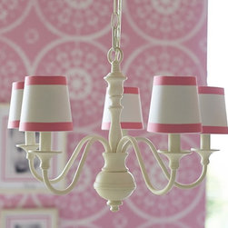 Harper Chandelier and Mini Shades - Simple and elegant with a touch of class.  Not youe typical little girls' room.