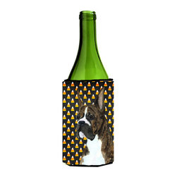 Caroline's Treasures - Boxer Candy Corn Halloween Portrait Wine Bottle Koozie Hugger - Boxer Candy Corn Halloween Portrait Wine Bottle Koozie Hugger Fits 750 ml. wine or other beverage bottles. Fits 24 oz. cans or pint bottles. Great collapsible koozie for large cans of beer, Energy Drinks or large Iced Tea beverages. Great to keep track of your beverage and add a bit of flair to a gathering. Wash the hugger in your washing machine. Design will not come off.