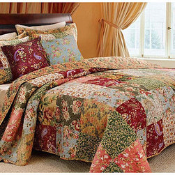 None - Antique Chic 5-piece Quilt Set - Vibrant floral and paisley prints highlight this oversized king-size quilt set. Constructed of soft cotton,the quilt reverses from a lovely patchwork to a vintage-inspired floral back.
