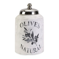 """IMAX - Small Olive Jar w/ Nickel Lid - This small decorative lidded jar is made from terracotta and features an antiqued white finish and olive branch graphic. Item Dimensions: (16.75""""h x 10""""w x 10"""")"""