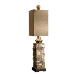 Uttermost - Andean Layered Stone Buffet Lamp - Nature's little inspiration. This stacked stone lamp puts the accent on your Mediterranean style lighting. A brushed, palomino suede box shade echoes the shape and natural tones of the base and tops off a memorable trip to the Tuscan countryside aka your dining room.