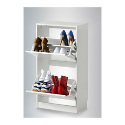 Bissa Shoe Cabinet With 2 Compartments, White - This small console/shoe cabinet's all-in-one qualities would be fabulous for a tiny entry foyer. Just set a small container on top for keys and wallets, and voilà!