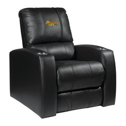 Dreamseat Inc. - Ford Outdoor Life Home Theater Leather Recliner - Check out this awesome Leather Recliner. Quite simply, it's one of the coolest things we've ever seen. This is unbelievably comfortable - once you're in it, you won't want to get up. Features a zip-in-zip-out logo panel embroidered with 70,000 stitches. Converts from a solid color to custom-logo furniture in seconds - perfect for a shared or multi-purpose room. Root for several teams? Simply swap the panels out when the seasons change. This is a true statement piece that is perfect for your Man Cave, Game Room, basement or garage. It combines contemporary design with the ultimate comfort from a fully reclining frame with lumbar and full leg support.