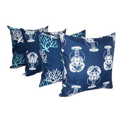 Land of Pillows - Isadella Coral Oxford Navy and Lobster Oxford Nautical Throw Pillows - Set of 4 - Celebrate ocean life with these nautically themed throw pillows! These decorative pillows come in a set of four, which includes two pillows with a lovely blue and white coral pattern on a navy background, and two with a whimsical white lobster pattern on the same stately navy background. These square pillows are crafted from a durable fabric that is stain, fade and water resistant, so they could even go with you to sea!