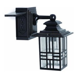 Hampton Bay - Hampton Bay Mission Style Exterior Wall Lantern with Built-in Electrical Outlet - Shop for Lighting & Fans at The Home Depot. Update your outdoor space with the Hampton Bay Mission Style Exterior Wall Lantern with built-in GFCI electrical outlet. This outdoor wall light features a built-in GFCI electrical outlet for power outdoors where you need it. Constructed of rust proof aluminum, seeded glass panels and painted black with bronze highlights, this lantern will give your outdoor space light, ambiance and electrical power.