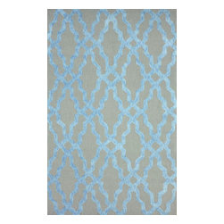 """nuLOOM - 7' 6""""x9' 6"""" Blue Hand Hooked Area Rug Cotton and Wool Trellis - Made from the finest materials in the world and with the uttermost care, our rugs are a great addition to your home."""