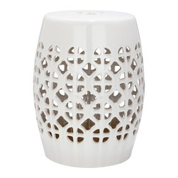 Safavieh - Cream Circle Lattice Garden Stool ACS4508B - It��_��__s simple geometry: this transitional garden stool has a circle and square lattice motif that brings a chic new look to an ages-old Chinese classic. Use this striking accent piece as an extra seat, plant stand or side table indoors or out: its glazed cream ceramic stands up to the elements.