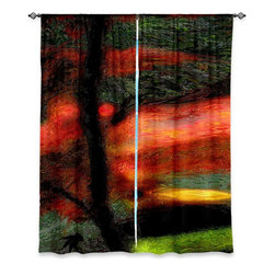 """DiaNoche Designs - Window Curtains Unlined by Hooshang Khorasani - Natures Brushwork - Purchasing window curtains just got easier and better! Create a designer look to any of your living spaces with our decorative and unique """"Unlined Window Curtains."""" Perfect for the living room, dining room or bedroom, these artistic curtains are an easy and inexpensive way to add color and style when decorating your home.  This is a tight woven poly material that filters outside light and creates a privacy barrier.  Each package includes two easy-to-hang, 3 inch diameter pole-pocket curtain panels.  The width listed is the total measurement of the two panels.  Curtain rod sold separately. Easy care, machine wash cold, tumbles dry low, iron low if needed.  Made in USA and Imported."""
