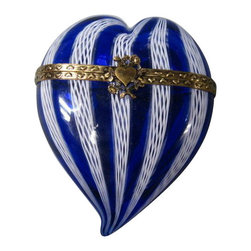 Murano - Murano Hearts Blue Heart With Gold Clasp - Murano Hearts Blue Heart With Gold Clasp