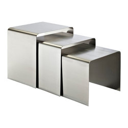 Modway Furniture - Modway Rush Nesting Table in Silver - Nesting Table in Silver belongs to Rush Collection by Modway Cubism used to be a movement set on portraying three-dimensional forms on two-dimensional surfaces ��_��_��_��_��_ but this wasn't enough. Try as they may, the objects remained flat to the touch. Nesting tables have made a comeback in recent years thanks to the drive toward realism. No longer are we satisfied with flat exhibitions of three-dimensional experience. Instead, we seek out ways to interact with our world in ways richer than we at first imagined possible. At its fullest, the set most represents spatial dimensions, and theieating for a trendy restaurant; Katonti exudes boundless chances for myriad conversations and animated debates. Whether a business meeting with a treasured client or a last minute lunch with a friend, pull up the cylindrical shaped chairs and celebrate success around the elliptic tempered glass top table. Set Includes: One - Katonti Outdoor Patio Dining Table Two - Katonti Outdoor Patio Chairs��_��_��_��__Aluminum frame covered in all-weather synthetic woven rattan Brown Wh Nesting Table (3)