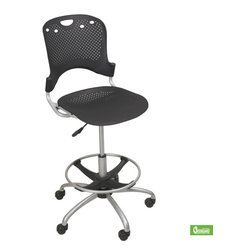 Best Rite - 45.5   52.5H x 26W x 26D Circulation Stool   Gray - The Circulation Task Stool combines style and comfort in an unique modern package. The sleek design features a perforated pattern for excellent ventilation.