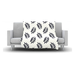 """Kess InHouse - Laurie Baars """"Pagoda Leaf Small"""" Black White Fleece Blanket (90"""" x 90"""") - Now you can be warm AND cool, which isn't possible with a snuggie. This completely custom and one-of-a-kind Kess InHouse Fleece Throw Blanket is the perfect accent to your couch! This fleece will add so much flare draped on your sofa or draped on you. Also this fleece actually loves being washed, as it's machine washable with no image fading."""