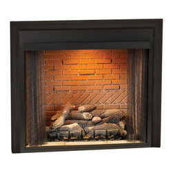 "Empire - Deluxe 32"" Vent-Free Firebox - Flush Face Refractory Liner - The Breckenridge Heat Circulating Firebox has open, standard black louvers for maximum heat distribution. All of Empire's Breckenridge Vent-Free Universal Fireboxes are zero clearance certified and are easy to install with a quick gas hook-up."