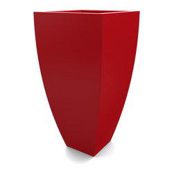 Decorpro - Medium Corby Planter, Red - The Corby Planter evolved from a variation on the standard square pots. Although designed as a large outdoor planter, these tall elegant planters also look great indoors. With clean curved lines these modern planters add an impressive statement as commercial  planters or in private residences.