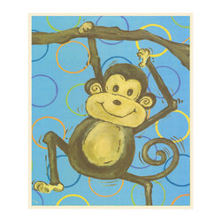 Stupell Industries - Lil Buddy Monkey and Blue Circle Wall Print Wall Plaque - Made in USA. MDF Fiberboard. Hand finished and packed. Approx. 15 in. W x 11 in. L. 0.5 in. ThickThe Kids Room by Stupell features exceptional handcrafted wall decor for children of all ages.  Using original art designed by in-house artists, all pieces feature hand painted and grooved borders as well as colorful grosgrain ribbon for hanging.  Made in the USA, everything found in The Kids Room by Stupell exudes extraordinary detail with crisp vibrant color. Whether you are looking for one piece to match an existing room's theme, or looking for a series to bring the kid's room to life, you will most definitely find what you are looking for in The Kids Room by Stupell.