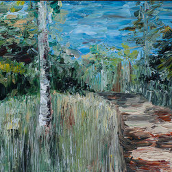 Forest Path (Original) by Ed Z - Painted with palette knives, in a heavily textured impasto style.